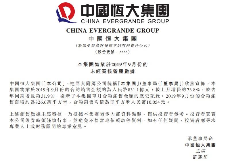 全员营销助业绩大增 中国恒大(03333)9月销售831.1亿破纪录