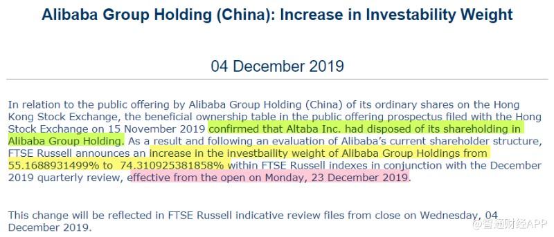 富时罗素上调阿里巴巴(09988)可投资权重至74.31% 12月23日开盘生效