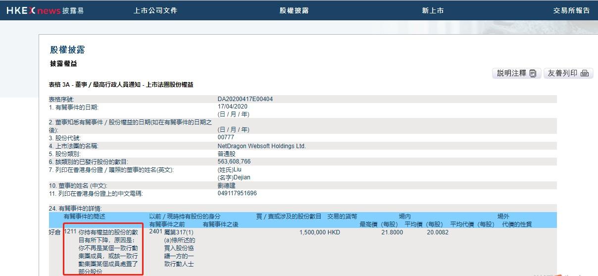 创始人刘德建并未减持网龙(00777)